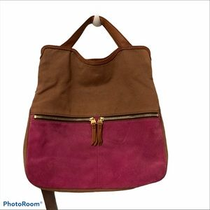 Fossil crossbody handle bag color block leather